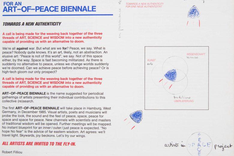 Robert Filliou, Zaproszenie na Biennale Sztuki Pokoju, 1985 / Invitation to the Art-of-Peace Biennale, 1985