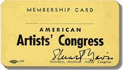 Karta członkowska American Artists' Congress. 1936 / American Artists' Congress membership card, 1936
