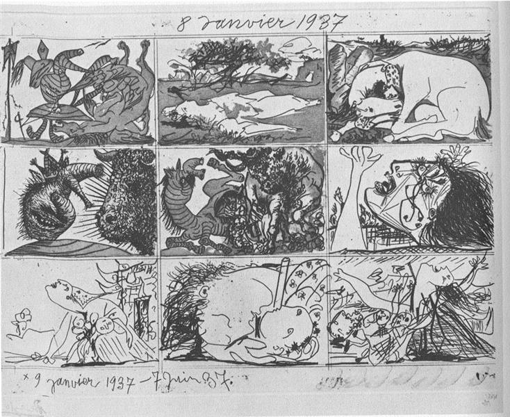Pablo PIcasso, Sen i kłamstwo Franco II / Dream and Lie of Franco II, 1937