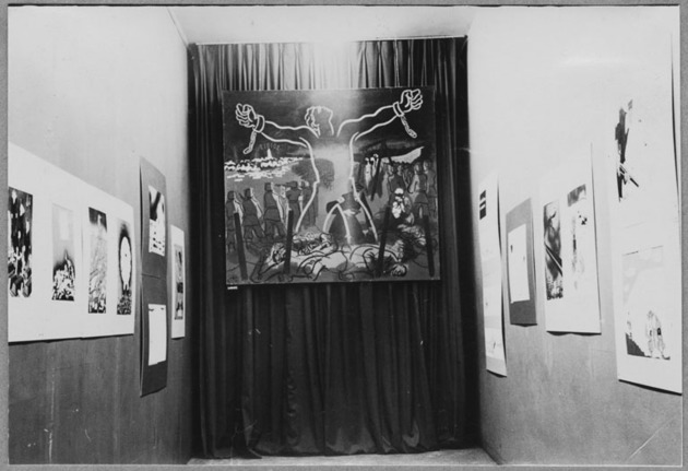 Widok wystawy / View of the exhibition War Caricatures by Hoffmeister and Peel, 1943