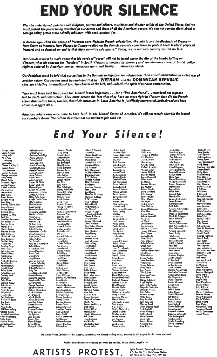 Artists and Writers Protest, End Your Silence, New York Times, 27.06.1965