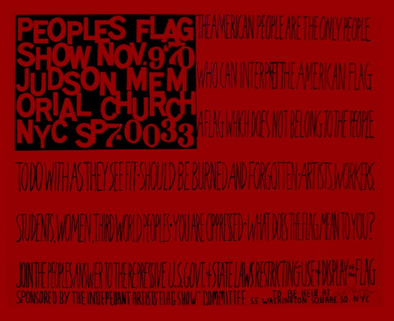 Faith Ringgold, Plakat wystawy People's Flag Show/ People's Flag Show poster, 1970