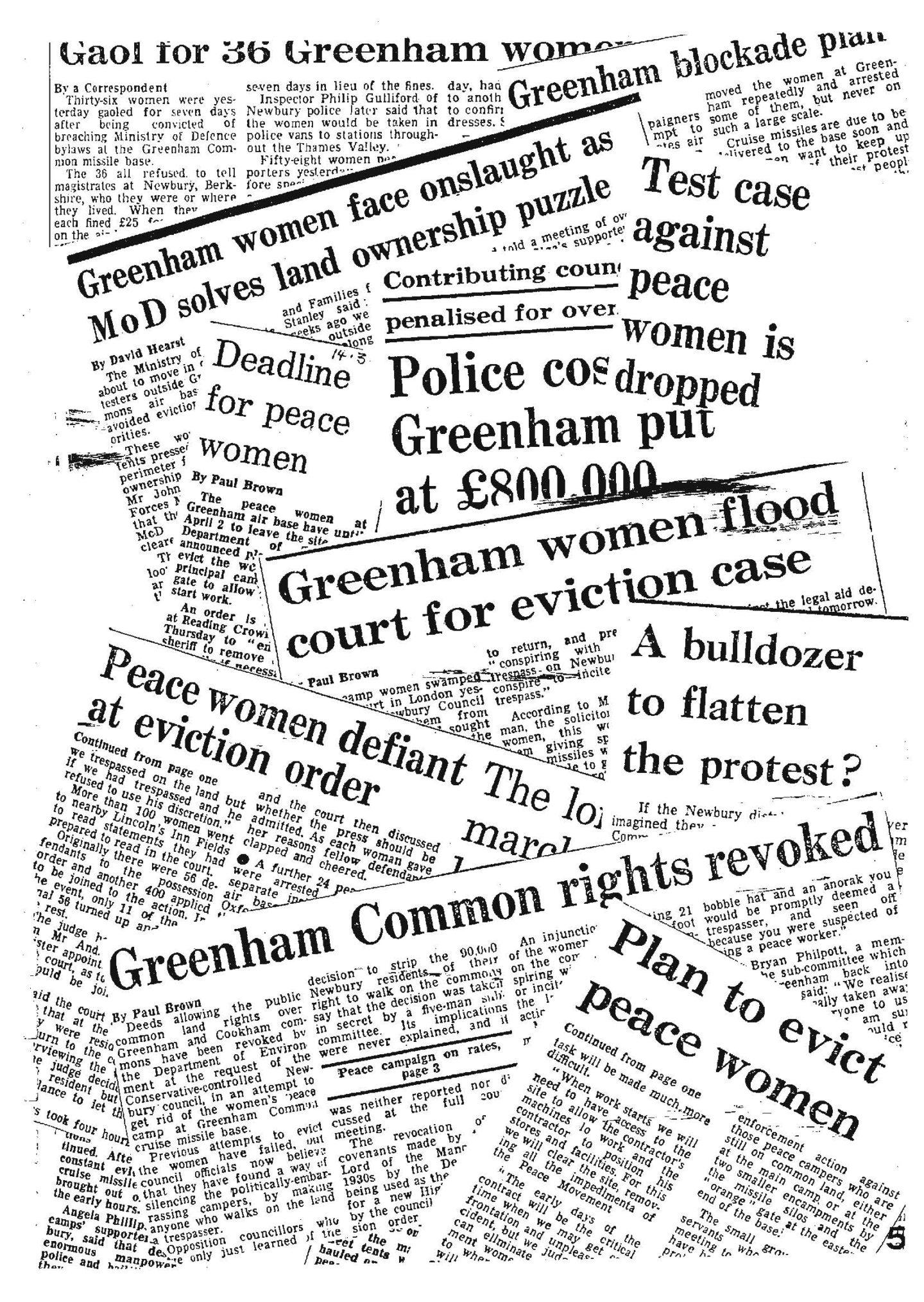 Eviction News (Wiadomości eksmisyjne), Śpiewnik Greenham Common / Greenham Common Songbook