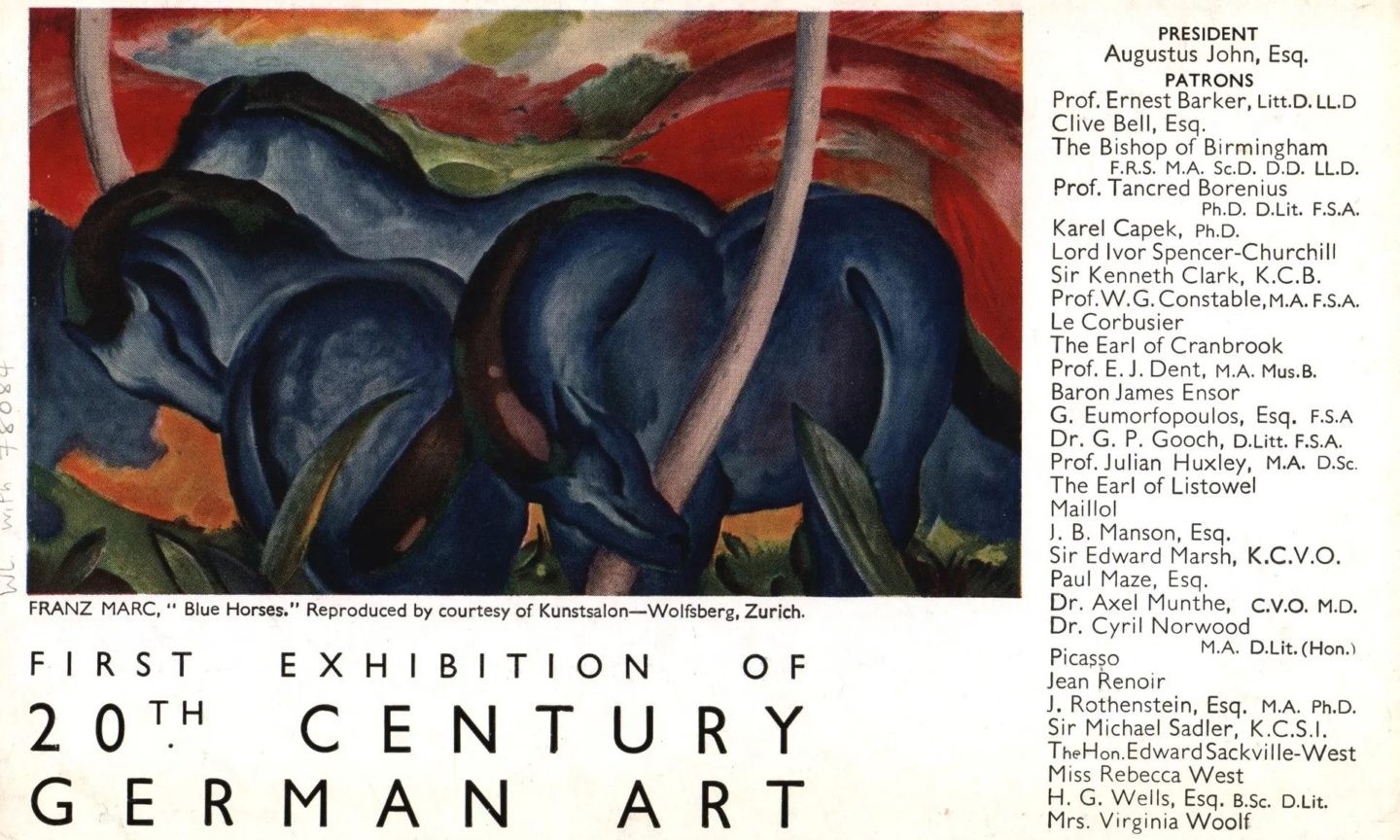 Ulotka wystawy / Flyer for the exhibition 20th Century German Art, 1938