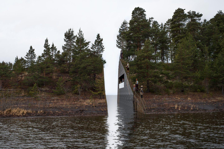 Jonas Dahlberg, projekt Memory Wound - upamiętnienie ofiar zamachów 22 lipca 2011, jezioro Tyrifjorden, 2013-2014.