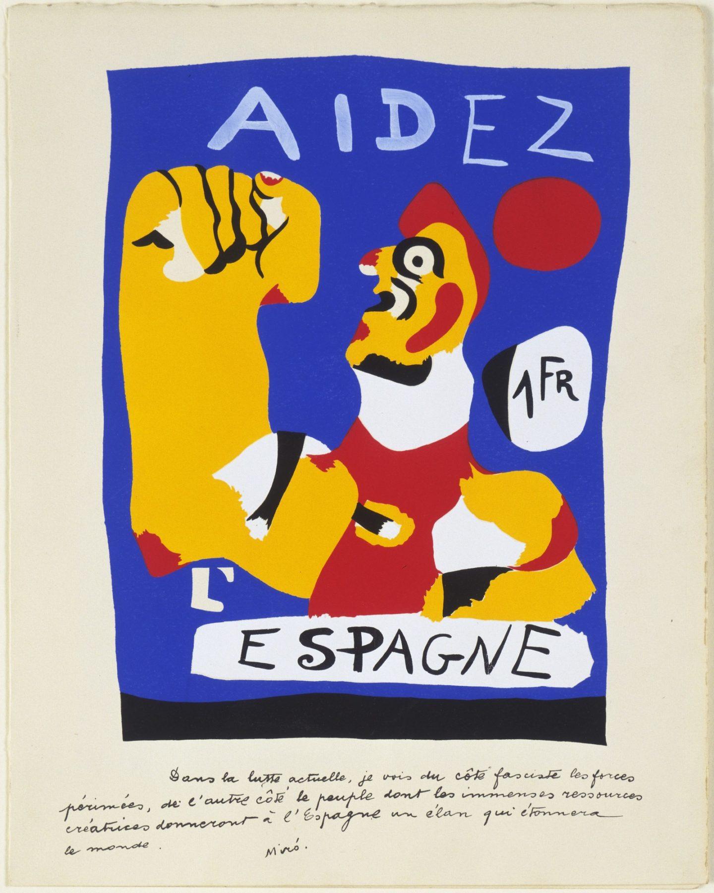 "Joan Miró, plakat propagandowy ""Na pomoc Hiszpanii"", 1937"