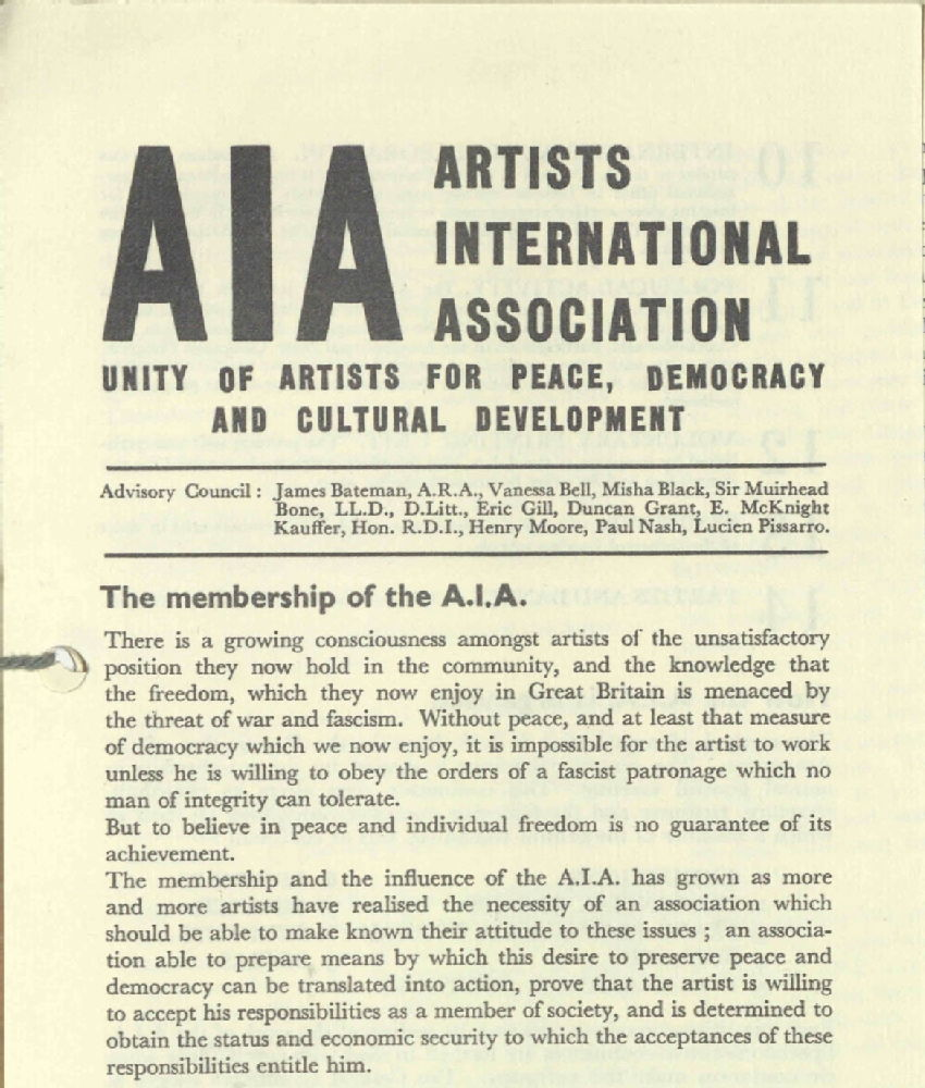 Fragment ulotki / Fragment of the flyer of Artists' International Association, 1938