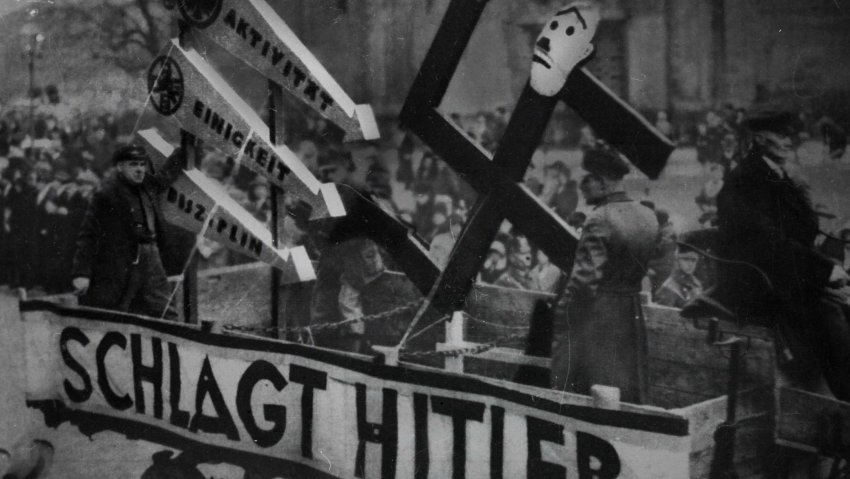 Three arrows symbol on the Iron Front float during anti-fascist demonstration in Berlin in 1933
