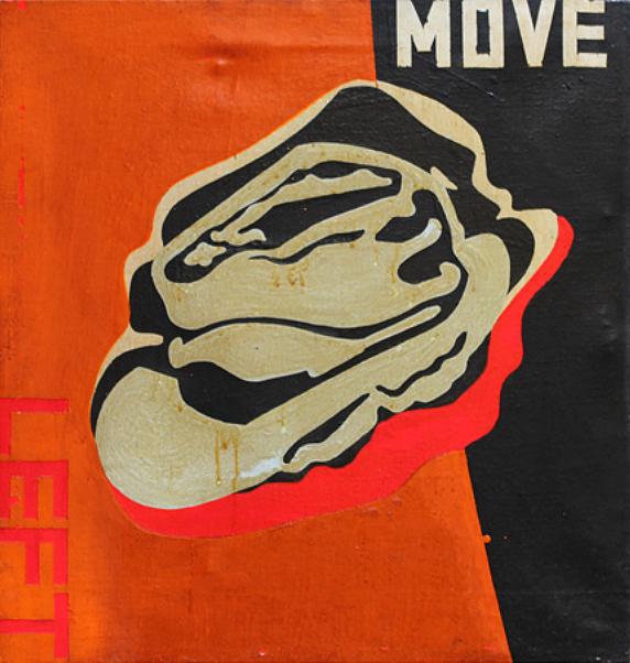 Boris Lurie, untitled (move left), późne lata 70.
